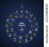 merry christmas thin line icons ... | Shutterstock .eps vector #1212383833