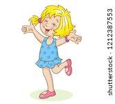 funny little girl jumping on...   Shutterstock .eps vector #1212387553
