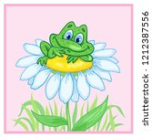 little frog sitting on a big...   Shutterstock .eps vector #1212387556
