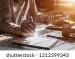 business woman write discipline ...   Shutterstock . vector #1212399343