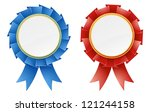 Red And Blue Rosette Medal...
