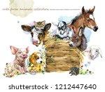 farms animal set. cute domestic ... | Shutterstock . vector #1212447640