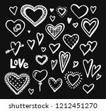 hand drawn hearts set of design ... | Shutterstock .eps vector #1212451270