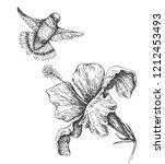 hand drawn  monochrome humming... | Shutterstock .eps vector #1212453493