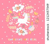 unicorns are real. cute vector... | Shutterstock .eps vector #1212457549