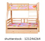 Bunk bed isolated over white background with clipping path - stock photo