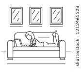 woman freelancer sofa concept... | Shutterstock . vector #1212465523