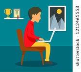 freelancer boy at home concept... | Shutterstock . vector #1212465553