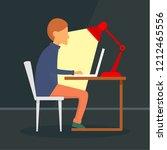 man freelancer at notebook... | Shutterstock . vector #1212465556