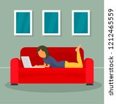 woman freelancer at sofa... | Shutterstock . vector #1212465559