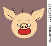 emoji with stressed pig guy... | Shutterstock .eps vector #1212477679