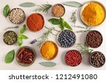 colorful  aromatic spices and... | Shutterstock . vector #1212491080