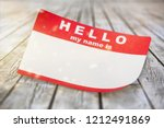 red hello my name is tag with... | Shutterstock . vector #1212491869