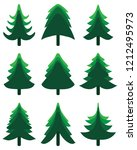 green christmas trees on a... | Shutterstock .eps vector #1212495973