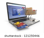 e commerce. shopping cart and... | Shutterstock . vector #121250446