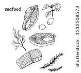 steak of red fish salmon  lemon ... | Shutterstock .eps vector #1212508573