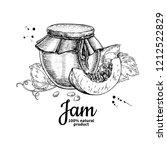 pumpkin jam glass jar drawing.... | Shutterstock . vector #1212522829