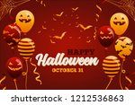 halloween ghost balloons on...   Shutterstock .eps vector #1212536863