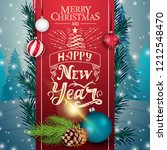 christmas card with red ribbon...