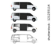 collection of vans with open... | Shutterstock .eps vector #121255114
