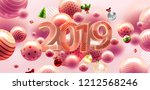 2019 happy new year trendy... | Shutterstock .eps vector #1212568246