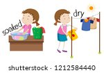 opposite word of soaked and dry ... | Shutterstock .eps vector #1212584440