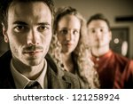 a portrait to two guys and a... | Shutterstock . vector #121258924