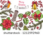christmas greeting card. hand... | Shutterstock .eps vector #1212592960