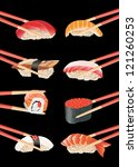 sushi with chopsticks isolated... | Shutterstock . vector #121260253