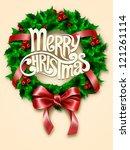 christmas wreath. vector | Shutterstock .eps vector #121261114