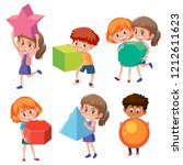 set of children holding math... | Shutterstock .eps vector #1212611623