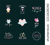 symbols of love icon set vector | Shutterstock .eps vector #1212628240