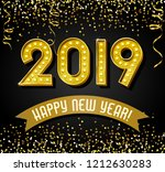 2019 happy new year design with ... | Shutterstock .eps vector #1212630283