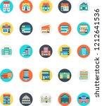 set of building icon with many... | Shutterstock .eps vector #1212641536
