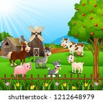 farm background with happy... | Shutterstock . vector #1212648979