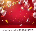 red illuminated room with... | Shutterstock .eps vector #1212665320