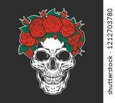skull with roses.vector... | Shutterstock .eps vector #1212703780