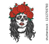 skull with roses.vector... | Shutterstock .eps vector #1212703783