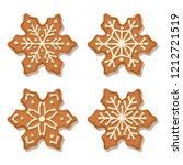 realistic gingerbread flowers... | Shutterstock .eps vector #1212721519