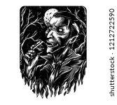 mr. darkness black and white... | Shutterstock .eps vector #1212722590