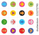 16 arrow colored pictogram in...