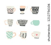 huge set with different cups of ... | Shutterstock .eps vector #1212756106