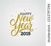 happy new year 2019 golden... | Shutterstock .eps vector #1212797296