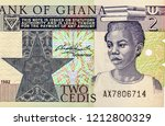 School girl face portrait on Ghana 2 cedi (1982) banknote  from Ghana. money. Close Up UNC Uncirculated - Collection.