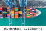 aerial top view crane shipping... | Shutterstock . vector #1212800443