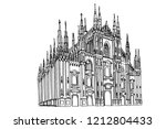 duomo cathedral in milan.... | Shutterstock .eps vector #1212804433