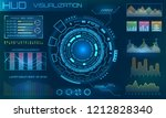 futuristic hud design elements. ... | Shutterstock . vector #1212828340