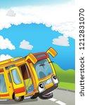 cartoon scene with happy bus on ... | Shutterstock . vector #1212831070