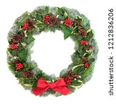 winter and christmas wreath... | Shutterstock . vector #1212836206