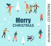 merry christmas poster with... | Shutterstock .eps vector #1212836386